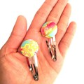 Turquoise Snap Clip for Girls, Fabric Button Hair Clips, Clips for Teens