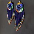 Royal Blue&Multi Color Beaded Earrings|Earrings  for Women |Eunique Gift For Her