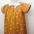 Smock Dress - Mustard Peasant Dress - Bunnies - Easter