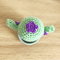 Crochet Cactus with Purple Flowers in Blue Pot