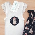 Flutter Singlet - Rabbit - White - Lace Sleeves - Bunny