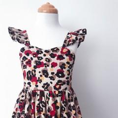 Malibu Dress - Animal Print - Cotton - Ruffle Sleeves - Retro - Cotton