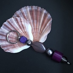 Handcrafted Keyring - Purple & Silver