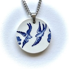 "Blue Willow ""Swallows"" pendant"