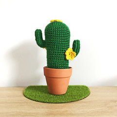 Crochet Cactus with Yellow Flowers