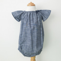Romper - Cotton - Denim look - Navy - White -