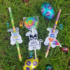 EASTER PENCIL/LOLLIPOP TAGS - SUPERHEROES - SET 12 - personalised
