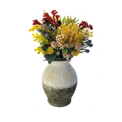 Artificial Native Flower Arrangement Multicoloured Natives in Rustic Vase
