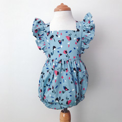 Bellevue Romper - Blue -  Floral - Cotton - Playsuit - Ruffles -