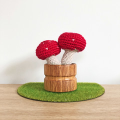 Crochet Toadstool in Wooden Pot, Potted Amigurumi Mushroom