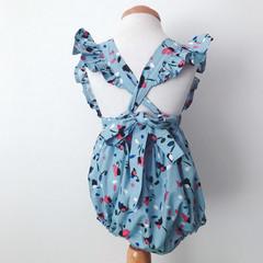 Size 2 - Bellevue Romper - Blue -  Floral - Cotton - Playsuit - Ruffles -