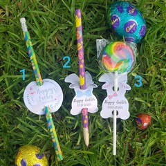 EASTER PENCIL/LOLLIPOP TAG - SET 12 - personalised