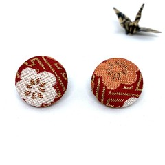 Kimono Button Earrings  - Red & White