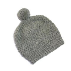 Wool and Alpaca Grey Knitted Adult Beanie with Handmade Pom Pom.