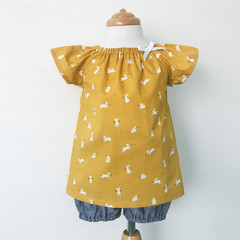Smock Top - Mustard Bunnies - Easter - Peasant Top -
