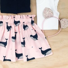 Skirt - Whales - Pink - Navy - Girls - Retro - Sizes 1-5
