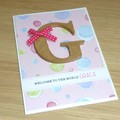Personalised Baby Girl Card - monogram