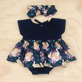 Size 1 - Easter Set - Top,Bloomers & Top Knot - Navy Bunnies