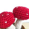 Crochet Toadstool in Wooden Pot, Potted Amigurumi Mushroom