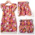 Smock Dress - Peasant Dress - Retro Floral - Pink - Yellow