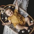 Romper - Mustard - Bunnies - Cotton - Baby Girls - Easter -