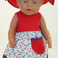Baby doll Sundress, Hat and Knickers - Red