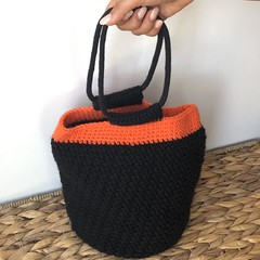 Handmade Crochet Tote Bag - Black & Orange