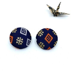 Kimono Button Earrings  - Dark Blue pattern