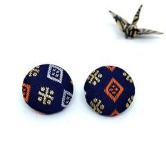 Kimono Button Earrings  - Dark Blue pattern