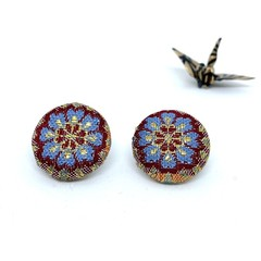 Kimono Button Earrings  - Flower