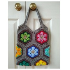 Crochet Boho Style Tote Bag - Flower Patches