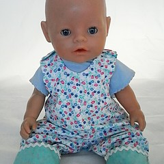 Baby doll Teal Overalls and TShirt