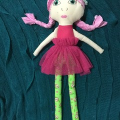 Ray of hope doll - lime green sloth print and pink hair