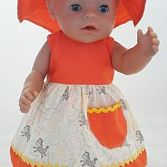 Baby doll Sundress, Hat and Knickers - Orange