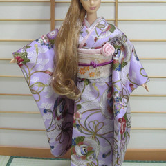 Doll clothes 'Lilac Dream' kimono set for Barbie dolls handmade