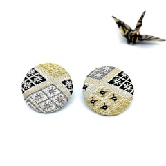 Kimono Button Earrings  - Beige, Gray & Black