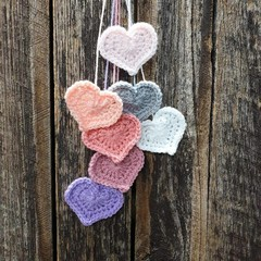Crochet Wall Hearts - Colourway 6