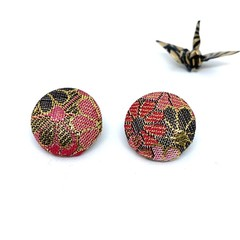 Kimono Button Earrings  - Red Pink