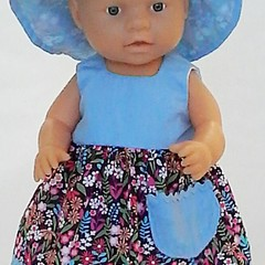 Baby doll Sundress, Hat and Knickers - Blue Floral