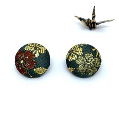 Kimono Button Earrings  - Dark Green