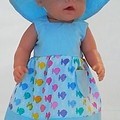 Baby doll Sundress, Hat and Knickers - Blue/Fish