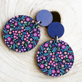 Sustainable Statement Earrings - Printed Wildflower - Surgical Steel - Wholesale