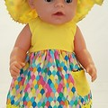 Baby doll Sundress, Hat and Knickers - Yellow/Rainbow