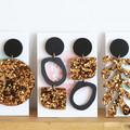 Black & Bronze Statement Earrings - Oval - Surgical Steel