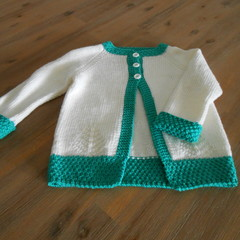 Cardigan in White with Green Trim