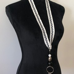 Handcrafted Lanyard - Black, White & Silver