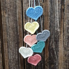 Crochet Wall Hearts - Colourway 14