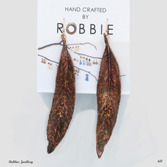Genuine eucalyptus leaf earrings, copper plated jewellery