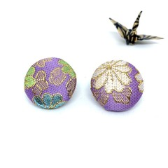 Kimono Button Earrings  - Light Purple