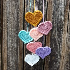 Crochet Wall Hearts - Colourway 10